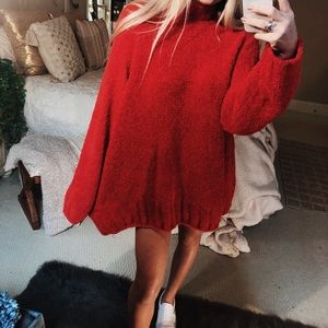 Sweaters - red plush oversized turtleneck knit